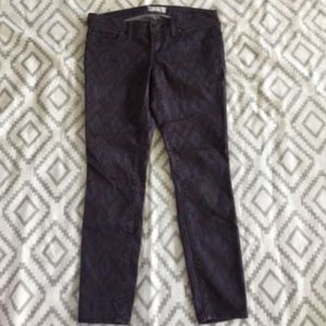 Free People Purple Ikat Aztec Stretch Skinny Jeans